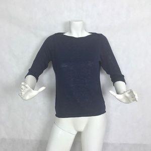 Eileen Fisher sweater Linen organic Knit navy blue
